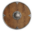 old wooden vikings' shield isolated - 76010679