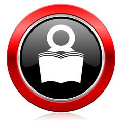 book icon reading room sign bookshop symbol