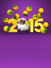 White Sheep And Oranges, 2015 On Purple Text Space