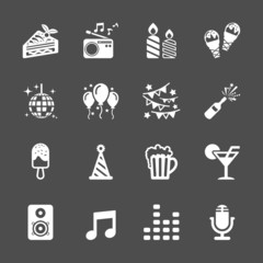 celebration and party icon set, vector eps10