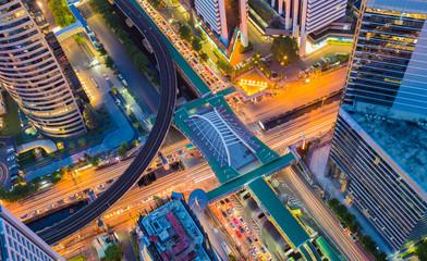 Aerial view of Bangkok central business center
