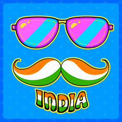 Indian kitsch style mustache and glasses