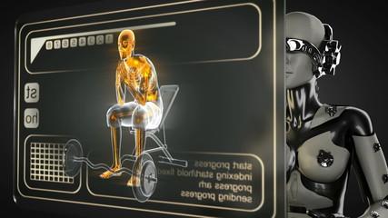 loop robot woman manipulatihg hologram display