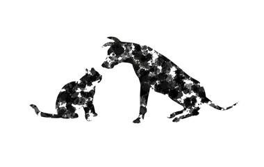 silhouette astratta di cane e gatto