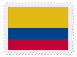 Colombia flag stamp