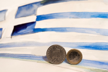 Euro and Drachma with the Greek flag as background