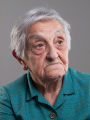 Portrait of an elderly woman in a studio shot