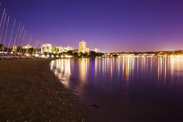 Perth city beach and boats at night