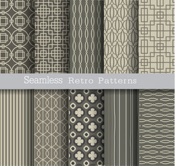 set seamless pattern retro.vector illustartion