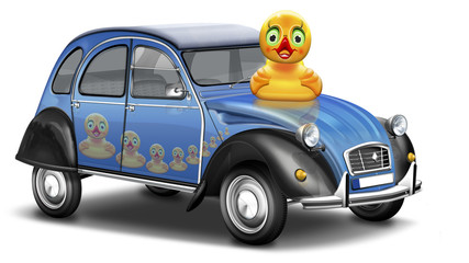 Berühmter Oldtimer aus Frankreich, eine Ente zum Fahren, freige