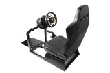 racing simulator cockpit with seat and wheel