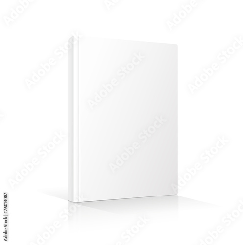 Blank vertical book cover template standing on white surface - 76013007