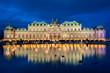 Leinwandbild Motiv Palace Belvedere with Christmas Market in Vienna, Austria