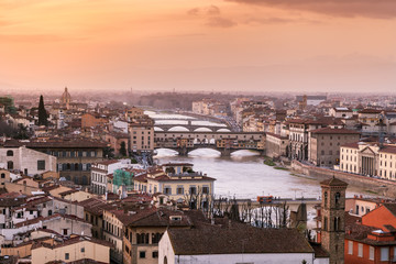 Ponte Vecchio at sunset from Piazzale Michelangelo, Tuscany