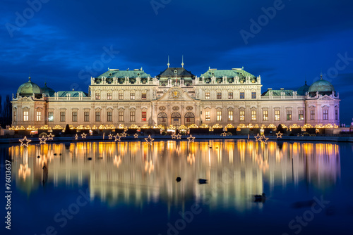 Poster Palace Belvedere with Christmas Market in Vienna, Austria