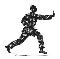 judo silhouette astratta su sfondo bianco