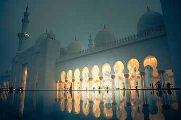 white history heritage islamic monument mosque in abu dhabi