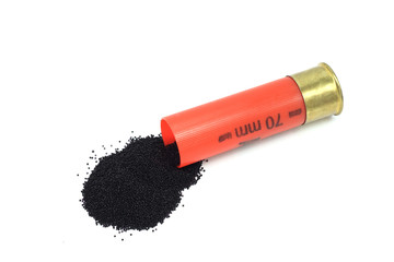 powder spill out of the cartridge on a white background
