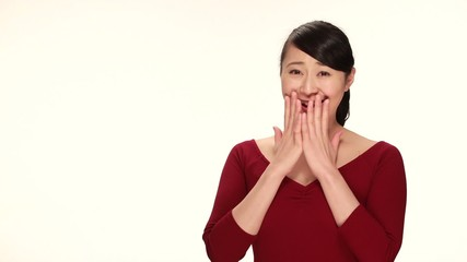 Young Asian woman surprised reaction happy smile