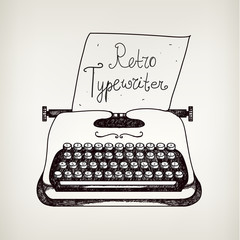 vector hand drawn doodle retro black ans white typewriter with