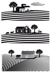 Bauernhof und Felder