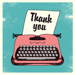 vector retro typing writer, thank you card