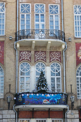 Christmas tree on the balcony Operetta Theatre in Pyatigorsk