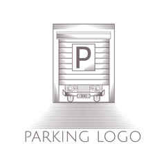 Illustration of parking garage icon with text
