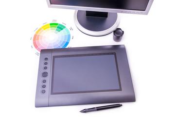 Designer working desk filled with computer,pen tablet