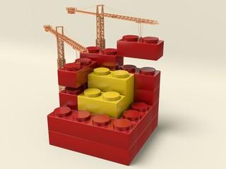 Costruzione di blocchi con gru