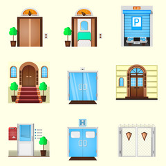 Stylized colorful icons for door