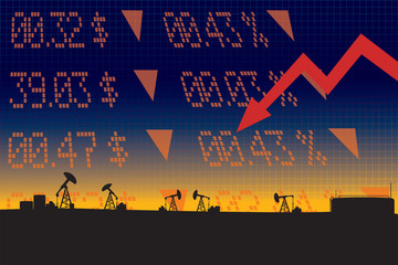 Oil price fall illustration with red down arrow