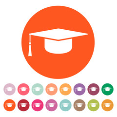 The graduation cap icon. Education symbol.