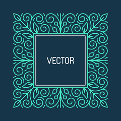 Vector floral frame with in line style