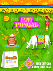 Happy Pongal greeting and shopping background