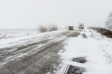 Winter landscape with highway and snow-drift in central Ukraine