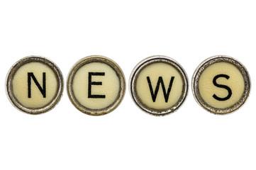 news word in typewriter keys