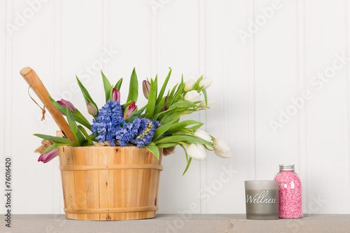 canvas print picture Sauna bucket with bouquet flowers