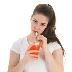 Girl drinking lemonade
