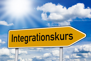 Wegweiser mit Integrationskurs