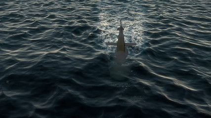 Submarine travelling on the surface of the ocean