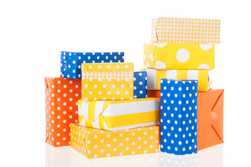 Yellow orange and blue gifts