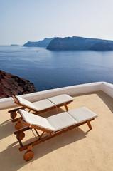 Idyllic terrace in Oia, Santorini