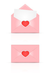 Pink envelope with red heart