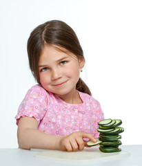Beautiful little childl with vegetable