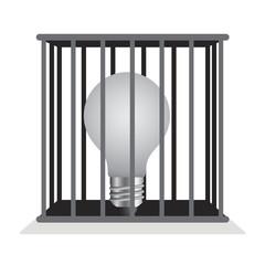 Dark light bulb in a cage.