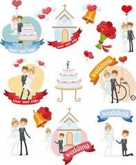 Набор элементов свадебного дизайна для пригласительных билетов