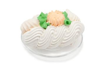 Cake meringue on plate