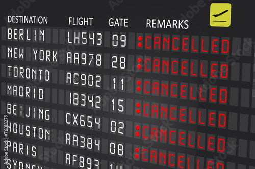 Airport billboard panel with cancelled flights - 76018279