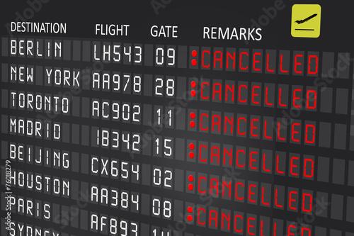 Leinwandbild Motiv Airport billboard panel with cancelled flights